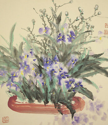 """CHINESE BIG HANGING SCROLL """"Flowers in Pot""""  @u101"""