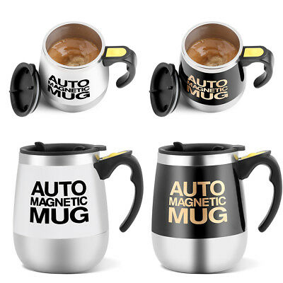 Stainless Steel Auto Self Mixing Cup Magnetic Stirring Coffee Mug Black/White EB