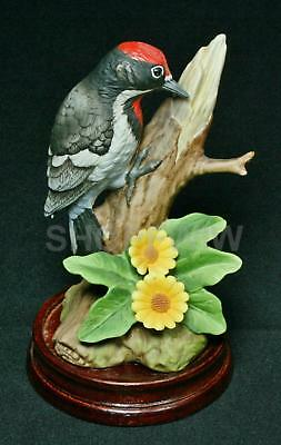 Vintage Andrea by Sadek Porcelain Downy Woodpecker With Yellow Daisies Figurine
