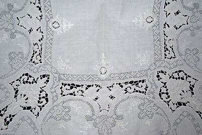 ANTIQUE LINEN TABLECLOTH WHITEWORK  PUNCHWORK CUTWORK 6 NAPKINS  118 x 66