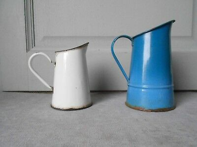 2 Antique french ENAMELWARE mea Pitchers WHITE  & BLUE