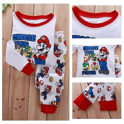 Cartoon Super Mario Bros Kids Baby Girls Boys Nightwear Pajamas Set Sleepwear FF
