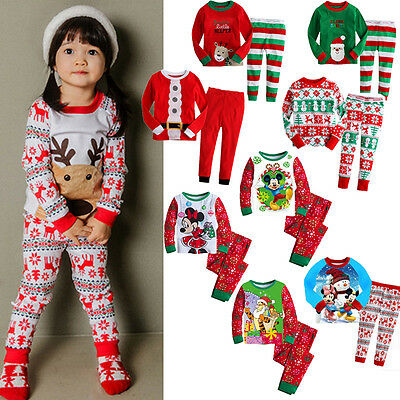 Kids Boy Girls XMAS Santa Deer Snowflake Mickey Sleepwear Nightwear Pajamas Set