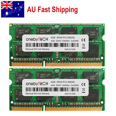 AU 8GB (2x4GB) PC3-8500 RAM For MacBook Pro Core 2 Duo Mid-2010 2009 A1278 A1286