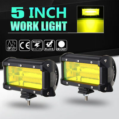 2Pc 5Inch LED Flood Work Light Bar Driving Fog Lamp Truck Offroad Car SUV Yellow