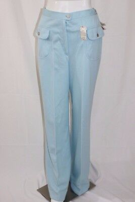Vtg 70s Koret Kolortron Pants High Waisted Blue Polyester Pants Womens Size 14