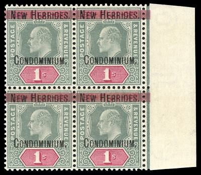 New Hebrides 1908 KEVII 1s green & carmine block of four very fine used. SG 9.