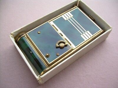 Antique Art Deco Enamel Musical Powder and Lipstick Compact Working Boxed.