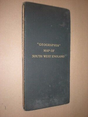 LARGE GEOGRAPHIA MAP SOUTH WEST ENGLAND circa 1930 ALEXANDER GROSS. 100 x 125cm