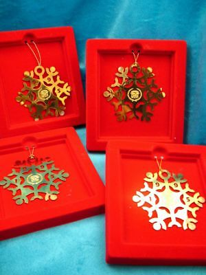 4 Cadillac 1995 Car Dealer Goldplate Brass Metal Snowflake Christmas Ornaments