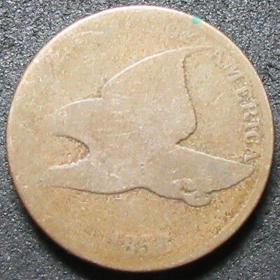 1858 Large Letters Flying Eagle Cent Coin