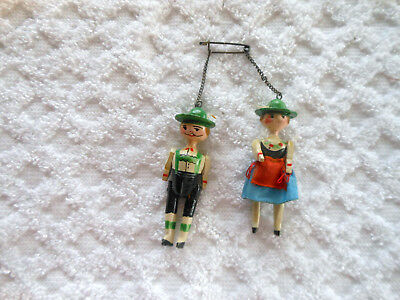 Vintage Mini Carved Wooden Moveable Man & Lady!