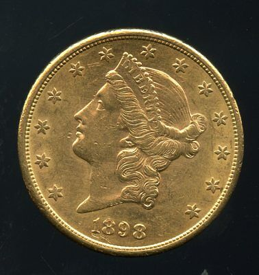 1898-S United States Gold Liberty Head Double Eagle $20 Coin JE758