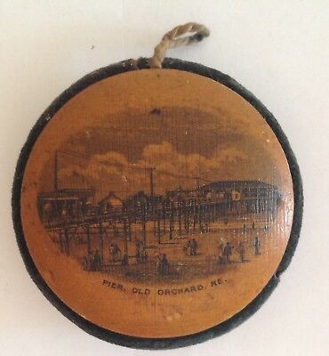 Mauchline Ware Hanging Pin Cushion Treen Antique Orchard Beach Maine Pier