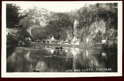 (F35079) Lake & Cliffs, Cheddar. 1950s Real Photo Postcard