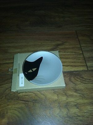 Silver Plate With Black Cat Face New In Box  4.5 Ins