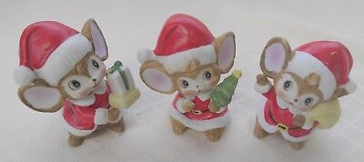 "Set of 3 Vintage HOMCO 4"" Christmas Mouse Figurines (1.25lb)"