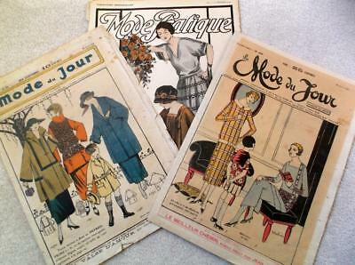 Lot of 3 French sewing  vintage art deco 1920s flapper fashion sewing magazines