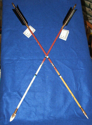 "Set of 2 Hand Painted Arrows Native American made 33""  Bear & Buffalo #04"