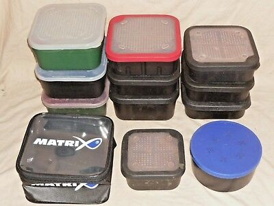 job lot of 12 drennan - fox - matrix EVA - daiwa maggot bait tubs - boxes V.G.C.