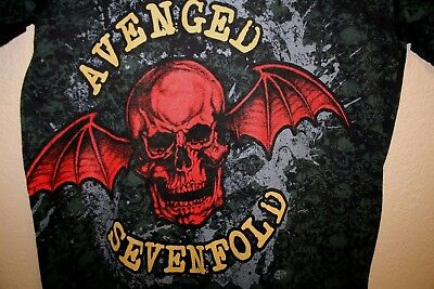MENS rare 2009 A7X Avenged Sevenfold ALL OVER PRINT Metal Band T-SHIRT SMALL S