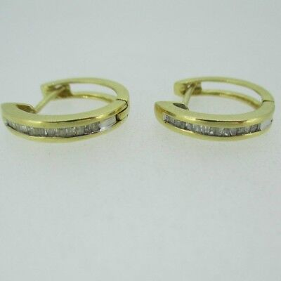14k Yellow Gold Diamond Circle Hoop Earrings