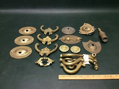 Lot of Antique Solid Brass Sconce, Lamp Parts Brackets, Backing plates