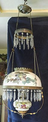 Nice hanging oil lamp not electric hand painted
