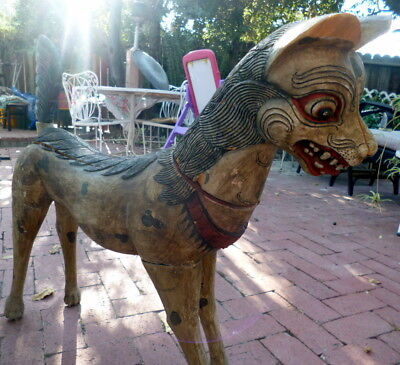 ANTIQUE LIFE SIZE DOG South East Asian Carved & Painted Wooden Primitive