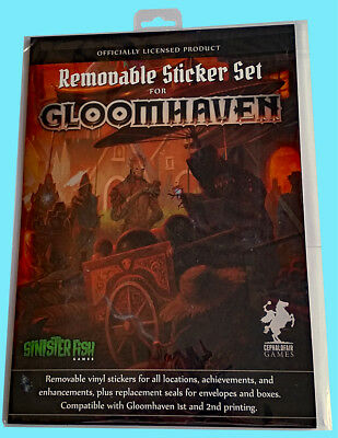 GLOOMHAVEN REMOVABLE STICKER SET for 1st & 2nd printing board game Cephalofair