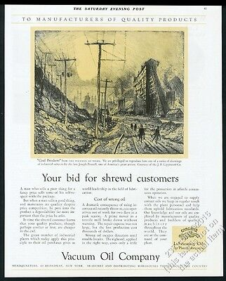 1928 Joseph Pennell Coal Breakers art Vacuum Oil vintage print ad