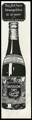 1929 Mission Dry Orange sparking soda bottle art vintage print ad