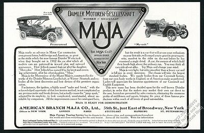 1908 Mercedes sister Maja Daimler covered and open car vintage print ad