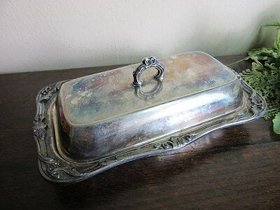 Vtg CORONA Silverplate quality butter dish with glass insert