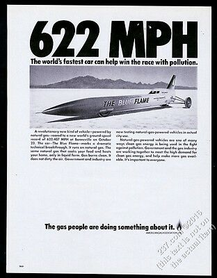 1970 The Blue Flame rocket car Bonneville Salt Flats photo AGA Gas print ad