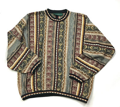 Tundra Canada Cosby 3d Textured Multi Color Crewneck Sweater Mens L