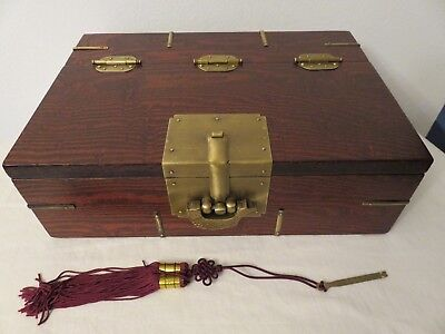 """Hand Made Wood Box BRASS HINGES Accents PUZZLE Lock CHINESE Chop Mark 13""""x9""""x4"""""""