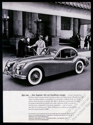 1958 Jaguar XK-140 XK140 hardtop coupe car photo at The Plaza Hotel print ad
