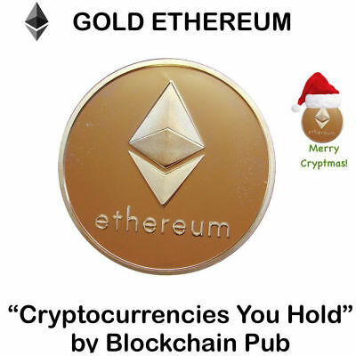 10Pcs Gold Plated Commemorative Collectible Golden Iron ETH Ethereum Miner Coin