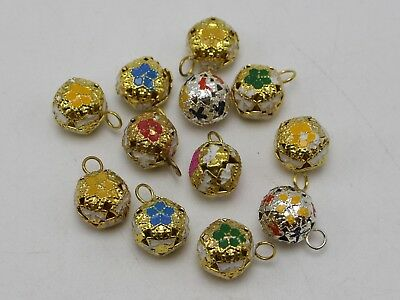 40 Mixed Color Flower Ball Jingle Bells Decoration Wedding Party Craft 12mm