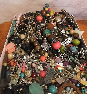 1.8kg Bulk Vintage & newer Jewellery/ Tangled/ upcycle lot/Craft/Beads/more