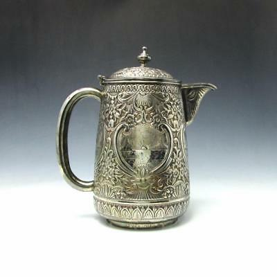 Antique Sterling Silver Hand Chased Repousse Water Jug Pitcher INDIAN ? 756g