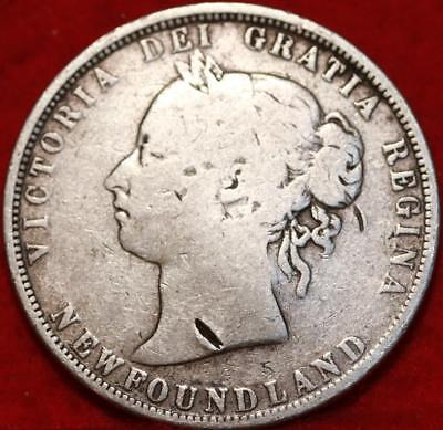 1870 Newfoundland 50 Cents Silver Foreign Coin Free S/H