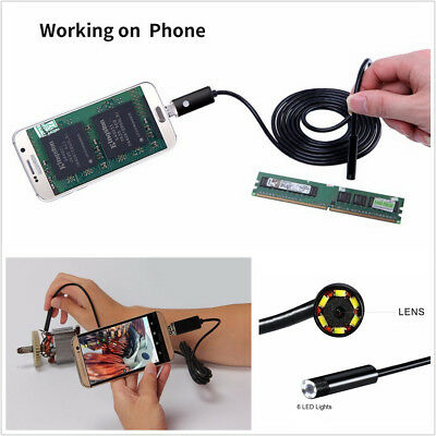 2in1 DC5V 5M Waterproof 8.0mm Car Endoscope 6LED USB Android HD Borescope Camera