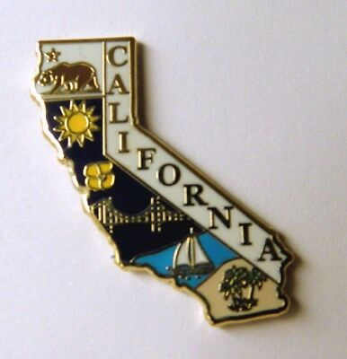 CALIFORNIA US STATE MAP LAPEL OR HAT PIN BADGE NEW 1 inch