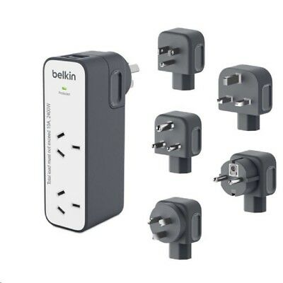 Belkin Travel Surge Protector 2 Way Outlet 2 USB Port 2.4A 5 International Plugs