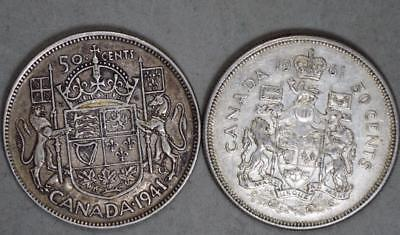 Canada 1941 and 1961 50 Cents Lot of 2 Silver Coins