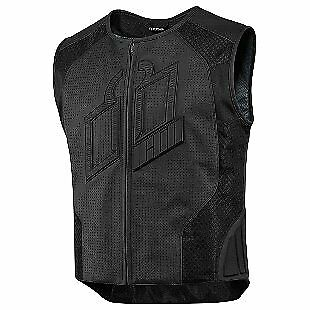 Icon Hypersport Prime Mens Leather Vest Black