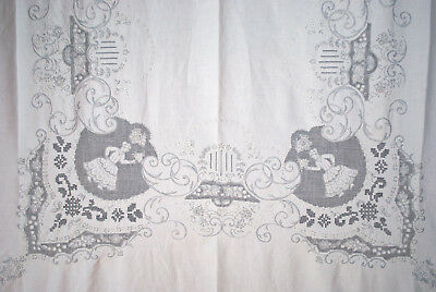 "Antique Figural Appenzel Style Tablecloth Linen Embroidered 12 Napkins 98"" X 67"""