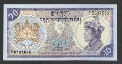 BHUTAN  10  NGULTRUM  ND (1986-2000)   P 15a(1)  Uncirculated  Prefix D/1